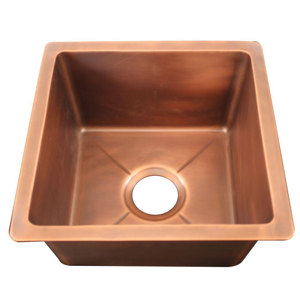 Square copper kitchen bar sink zb 015 smooth 40 cm x 40cm